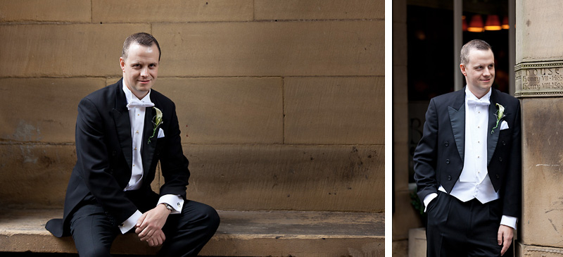 Groom smiling before the ceremony