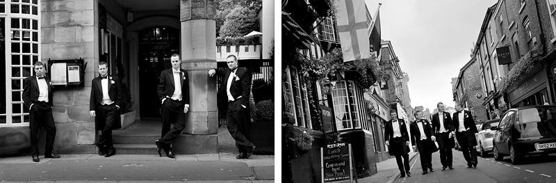 Groom with his groomsmen walking down the street
