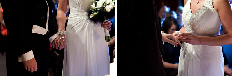 Bride places wedding ring on the Grooms third finger, left hand