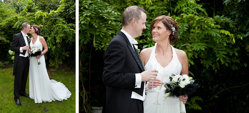 Bride and Groom have photographs in the secret garden