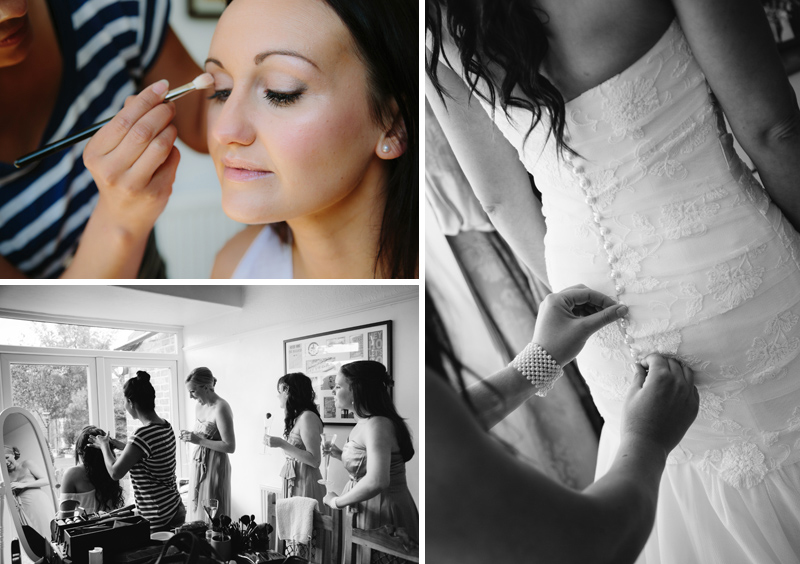 Bride having hair and makeup done