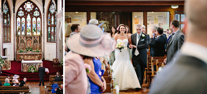 Bride walks down the aisle with her dad