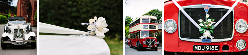 Red bus to take guest to the wedding reception at Hilltop Country House