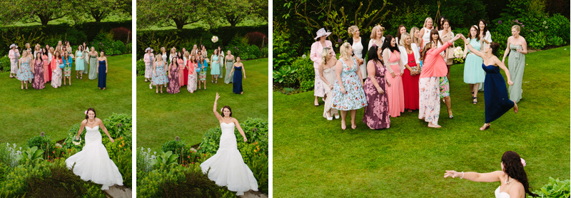 Bride throws her bouquet