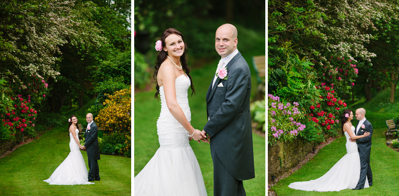 Bride and Groom hold hands in the garden