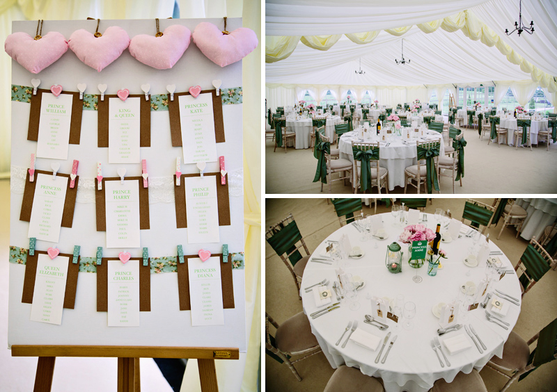 Wedding breakfast in the marquee at Hilltop