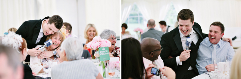 Wedding singer jokes with guests