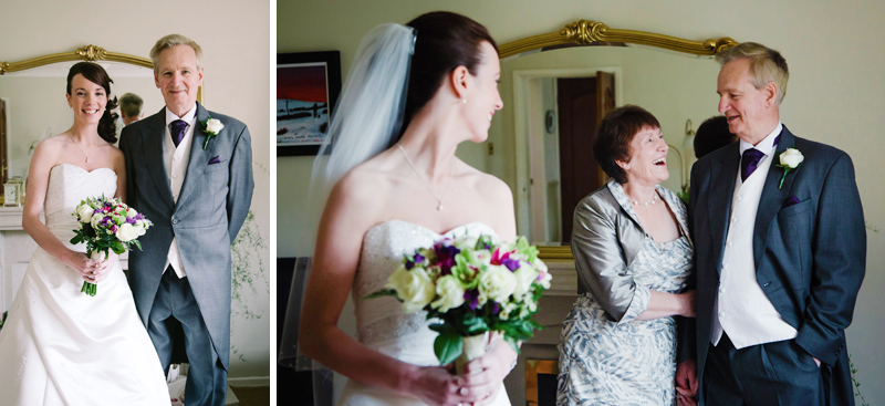 Bride looks back at her mum and dad