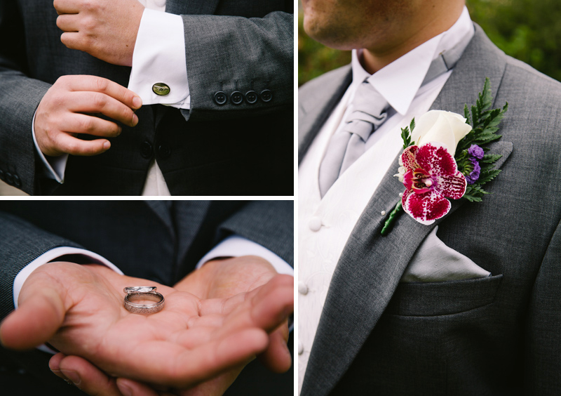 The Groom holding the wedding rings and checking his cufflinks