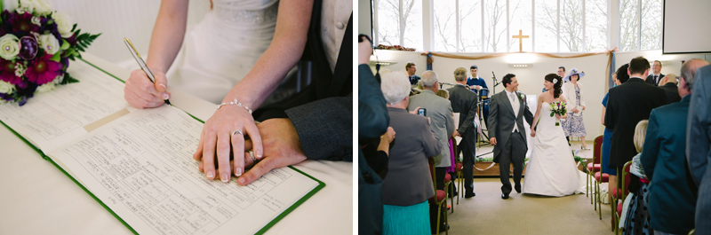 Bride and Groom sign the wedding register