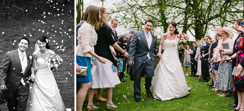 Guests throw confetti over the Bride and Groom