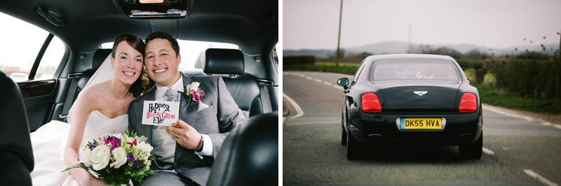 Bride and Groom leave for the venue in the Bentley