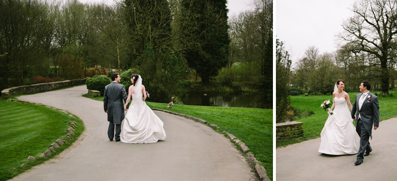 Bride and Groom having a stroll through the gardens