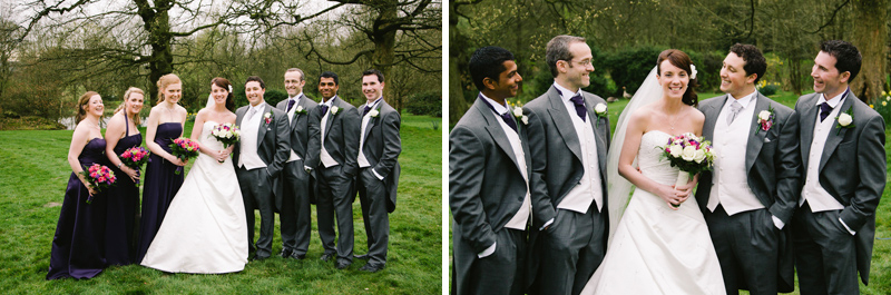 Brides laughing with groomsmen