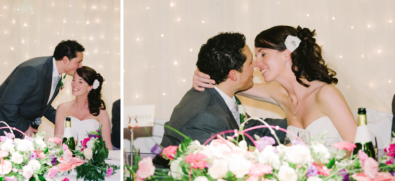 The Bride and Groom kiss during the speeches