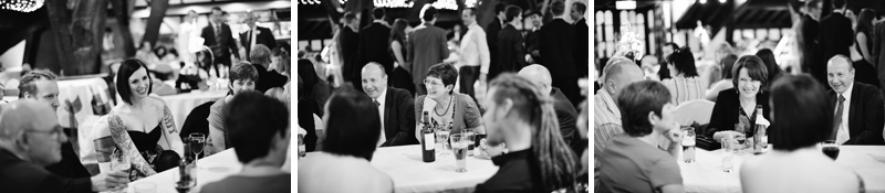 Guests enjoying drinks and laughing