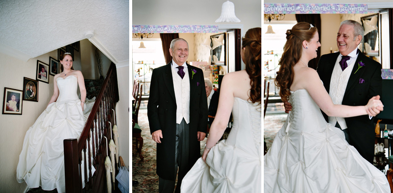 Dad seeing his daughter for the first time in her wedding dress