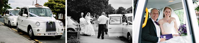 White cab wedding cars