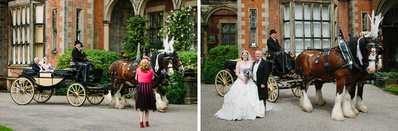 Wedding guest taking photos of bride with horse and carriage