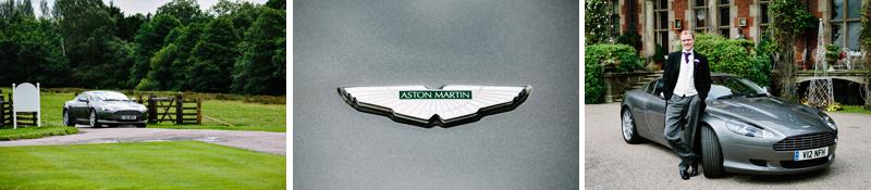 Groom with Aston Martin Wedding Car