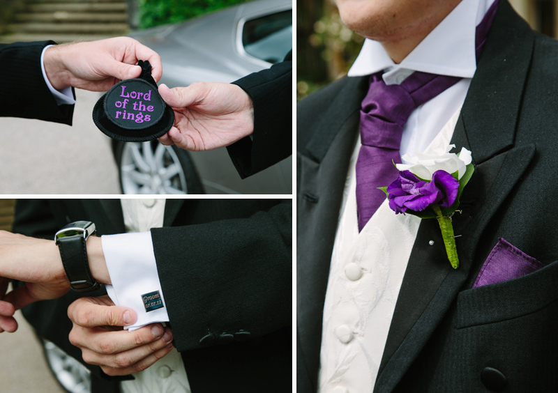 Groom's cufflinks and buttonhole