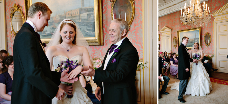 Father of the Bride gives his daughter's hand to the groom