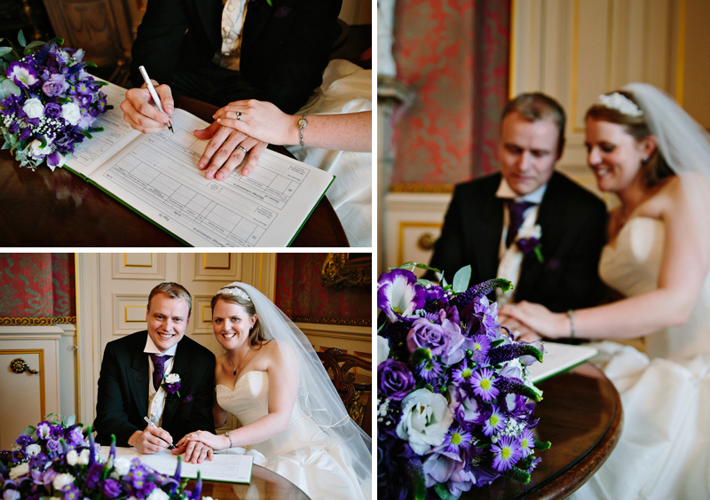 Bride and Groom signing register