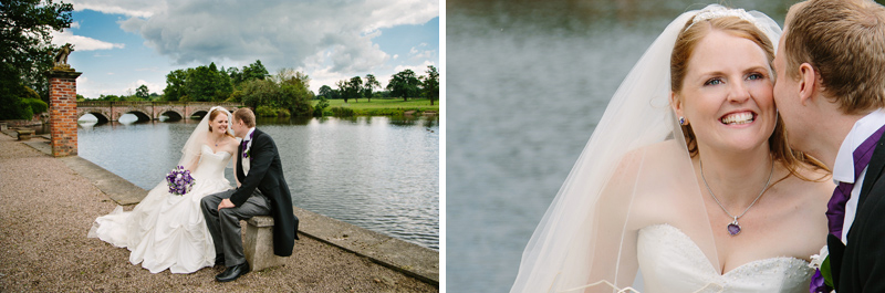 Bride and Groom sitting on a seat near the lake