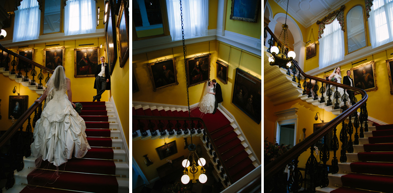 Bride and Groom inside on the staircase