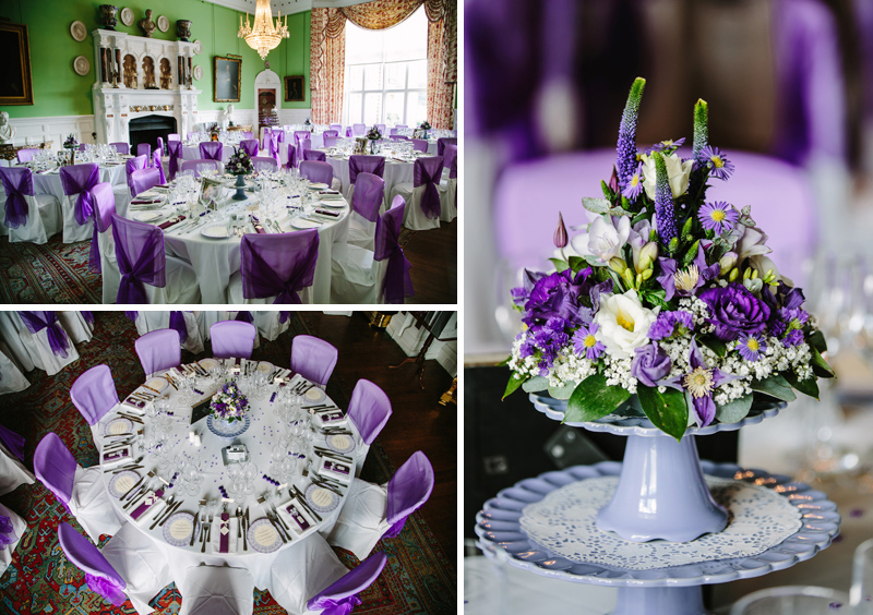 Wedding breakfast room table decorations