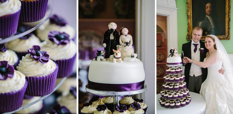 Bride and Groom cut wedding cake