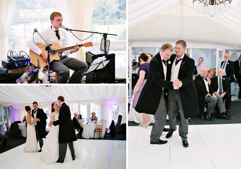 Best Man playing guitar at evening reception while Groom dances