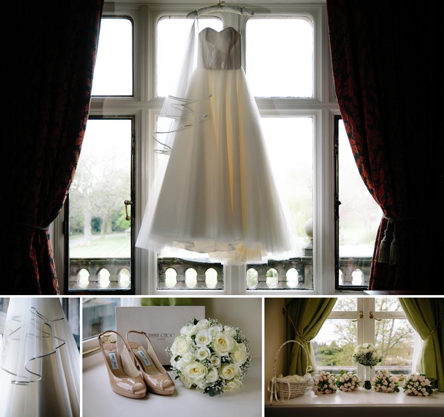 Brides wedding dress and bouquet