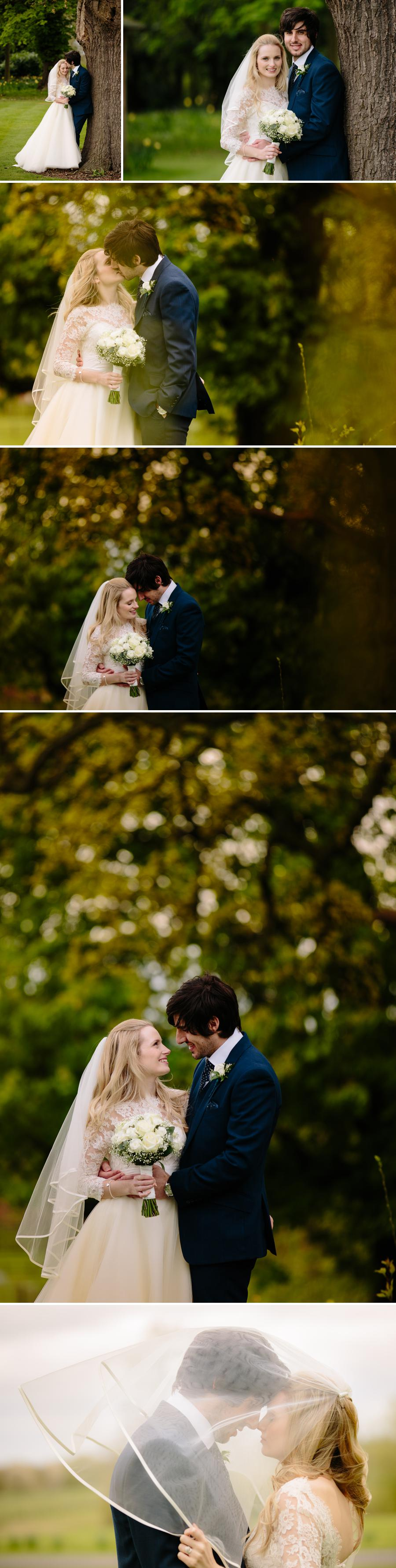Bride and groom in the gardens at Rookery Hall