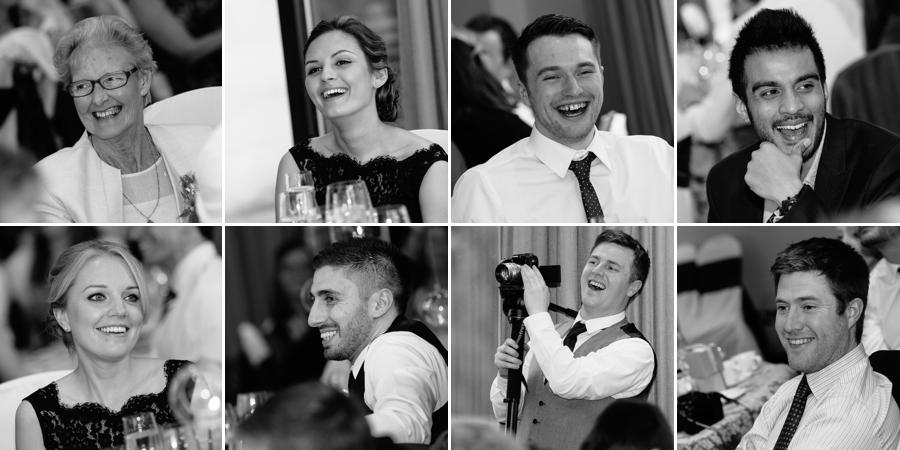 wedding guests laughing during speeches
