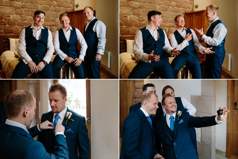 Groom and groomsmen having fun together