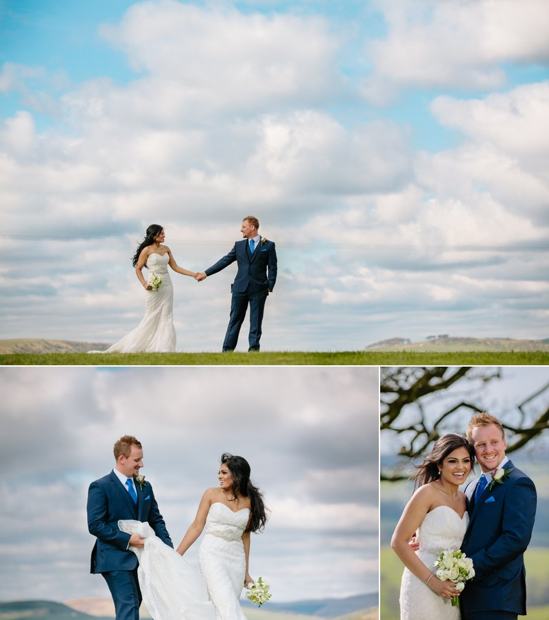 Stunning view Heaton House Farm with the bride and groom walking together