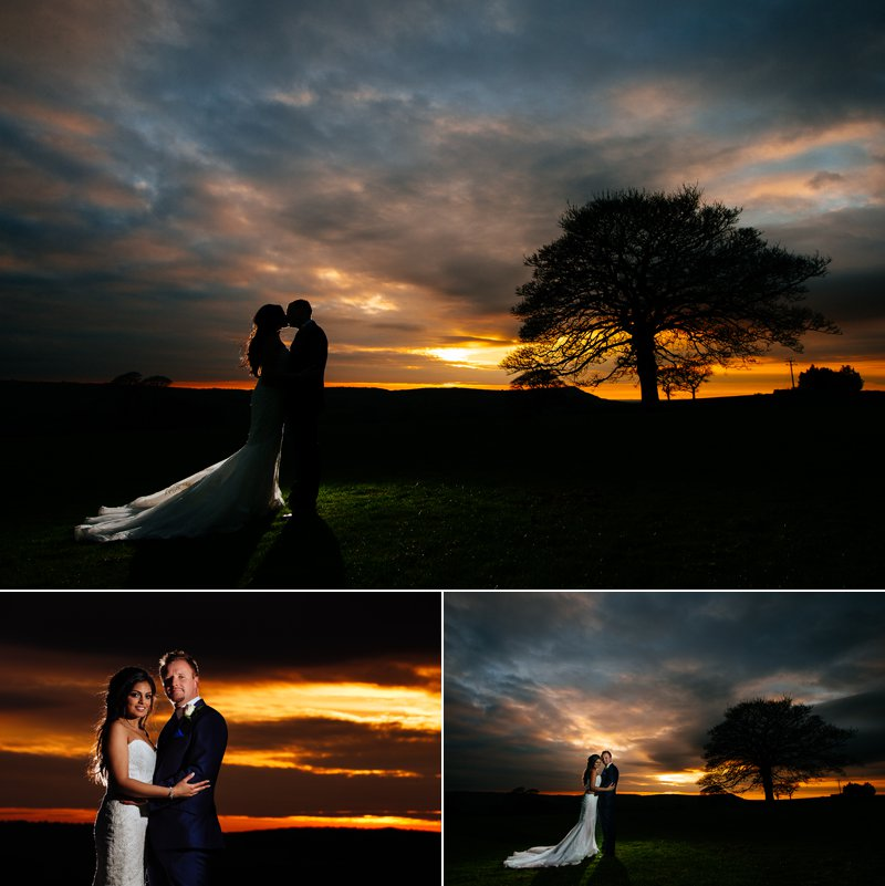 Stunning Sunset with the bride and groom at Heaton House Farm