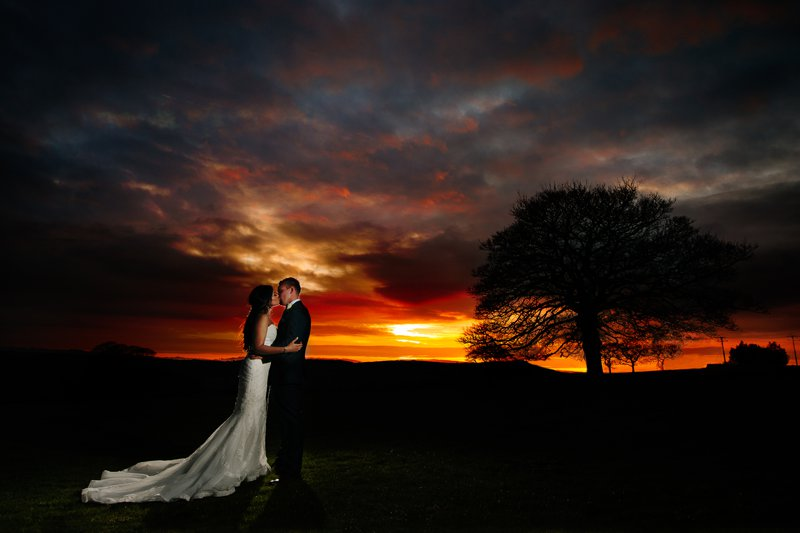 Heaton House Farm Sunset with Bride & Groom