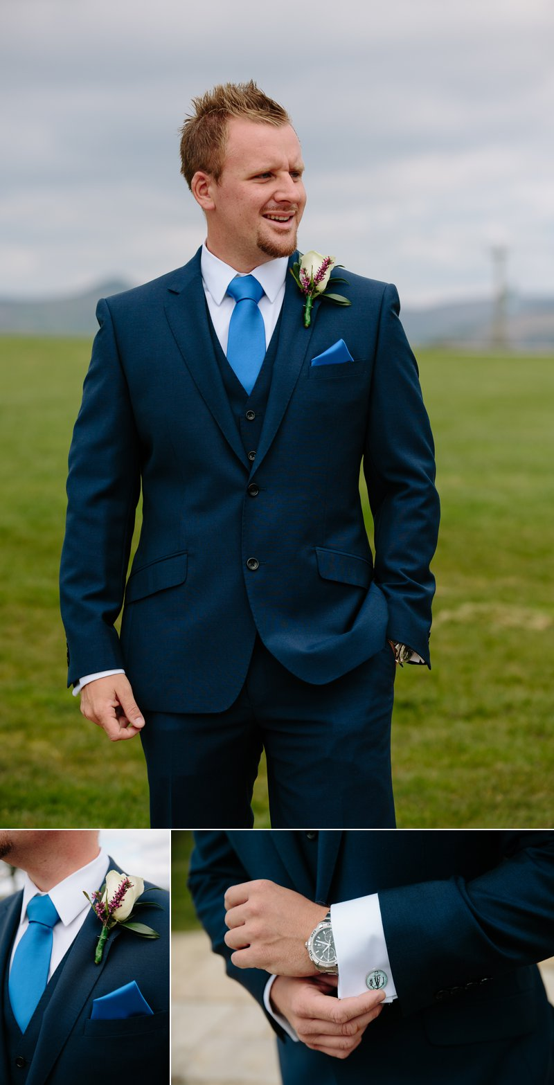 Groom photographs with cufflinks and buttonhole