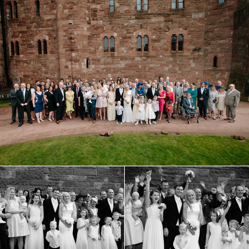 Wedding guests having fun at Peckforton Castle