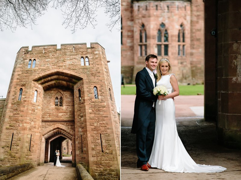 Bride and Groom at the drawbridge at Peckforton Castle