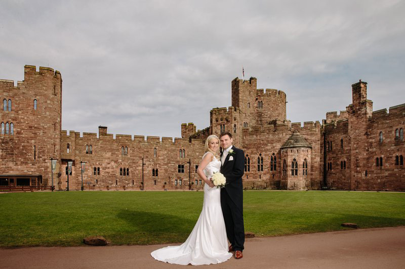 Bride and Groom in front of the castle