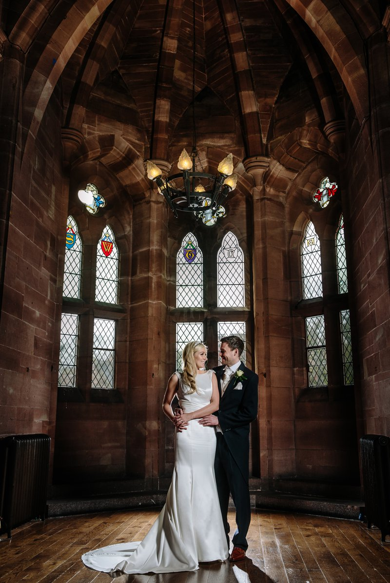Bride and Groom in the Great Hall at Peckforton Castle