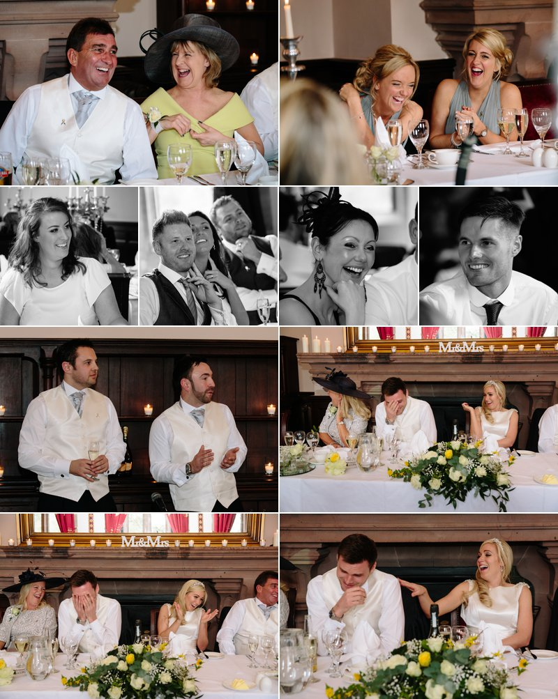 The wedding speeches with guests laughing