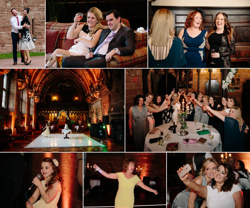 Wedding evening reception with guests laughing
