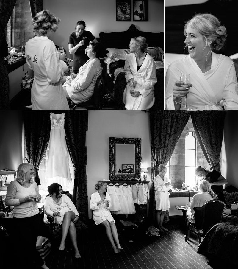 Bride and bridesmaids having hair and makeup