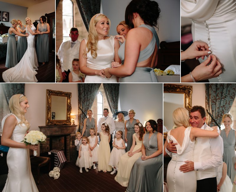 Bridesmaids helping bride in her wedding dress