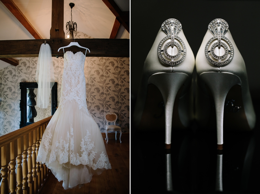 Wedding dress and brides shoes