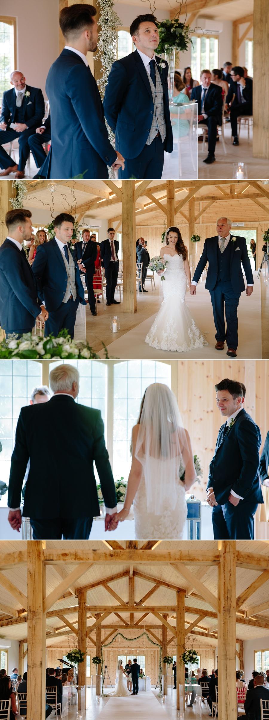 Groom seeing the bride walking down the aisle